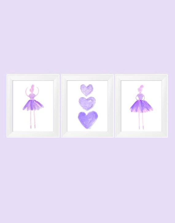 Purple Ballerina Print Set; 11x14 Set of 3 Girls Prints