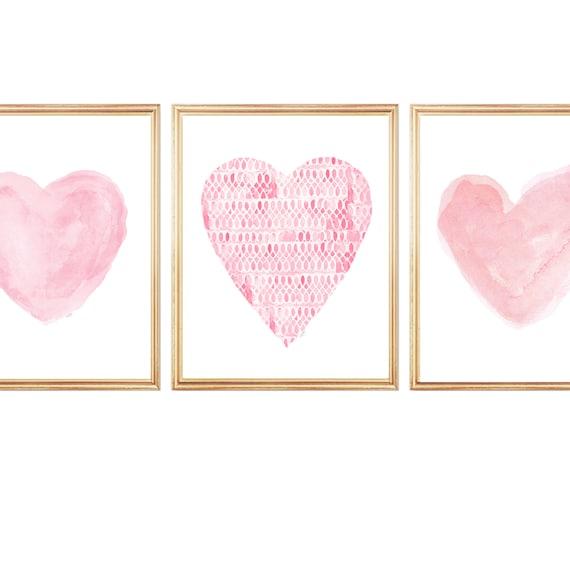 Pink Girls Wall Decor, Set of 3 Pink Watercolor Heart Prints