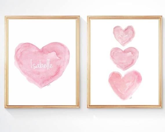 Newborn Girl Nursery Gift, Set of 2 - 8x10 Pink Prints