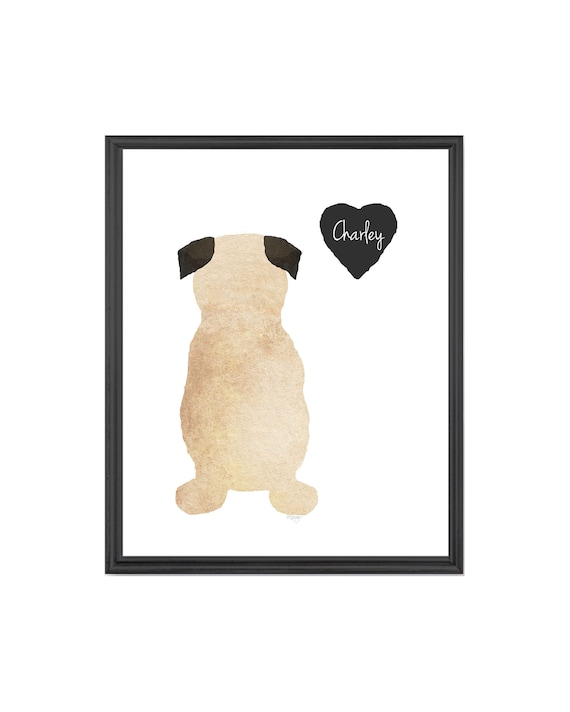 Pug Memorial; Personalized Pug Print with Name