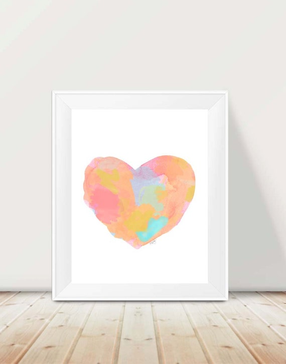 Pastel Heart Print, 11x14 Contemporary Watercolor