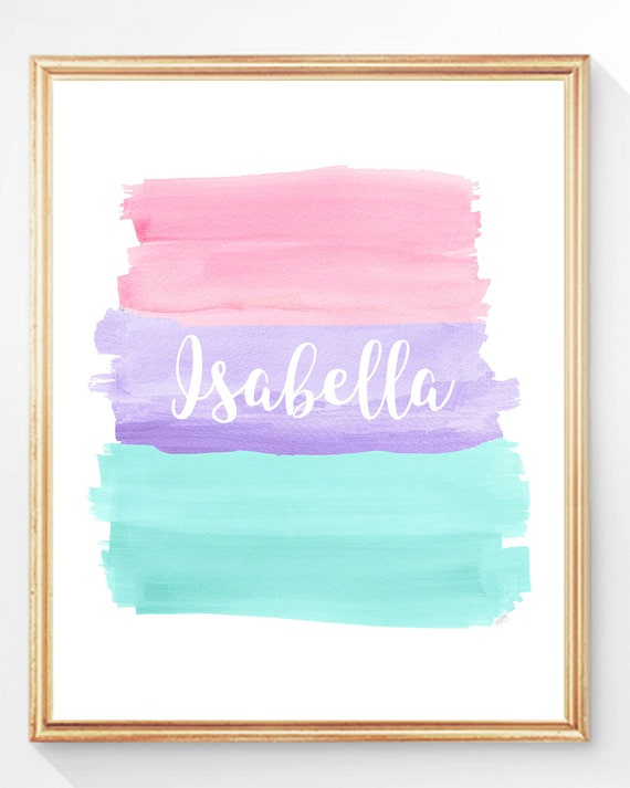 Pastel Bedroom Decor, Girls Personalized Name Print
