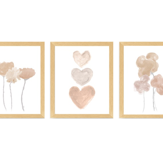 Neutral Baby Nursery; Set of 3 Natural Flower and Heart Prints