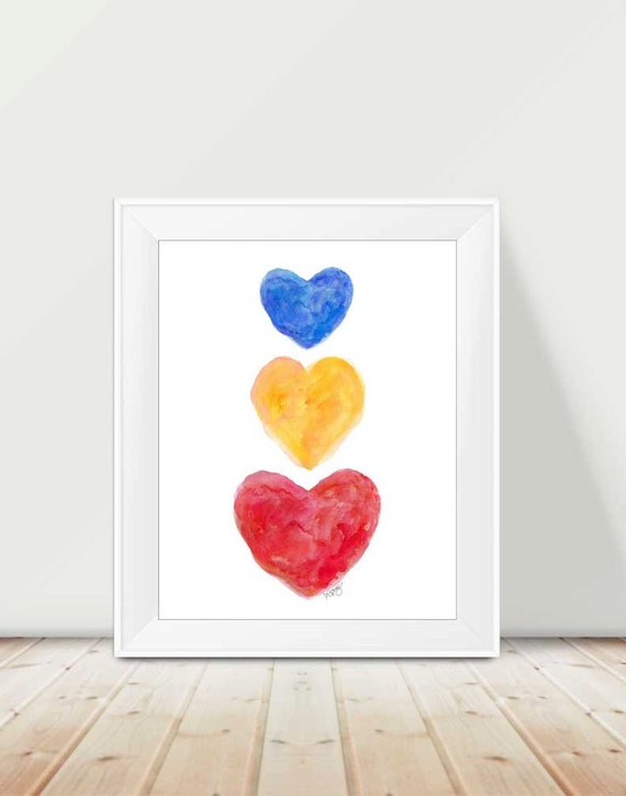 Primary Playroom Wall Decor, 11x14 Watercolor Hearts Print