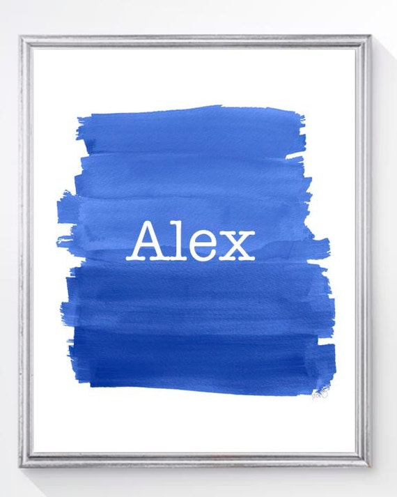Personalized Navy Brushstroke Print for Boys; 8x10