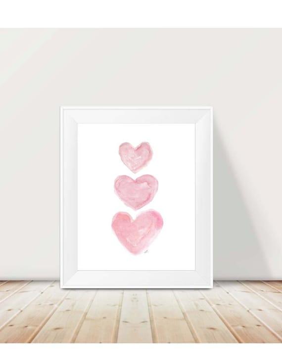 Baby Girl Nursery Print in Pink, 11x14 Hearts