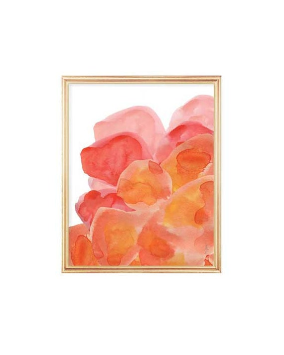 Orange and Pink Art, 8x10 Abstract Flower Painting