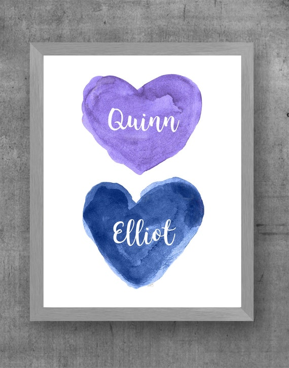 Personalized Brother Sister Print in Purple and Navy, 11x14