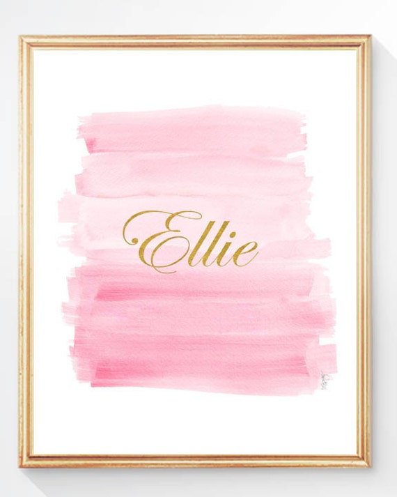 Pink and Gold Wall Decor, 8x10 Personalized Brushstroke Print with Name