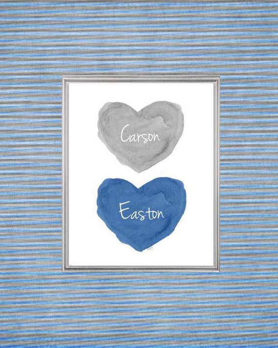 Blue and Gray Nursery Art for Brothers, Personalized 8x10 Print