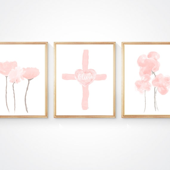 Cross Print for Baby, Set of 3-8x10 with Flowers