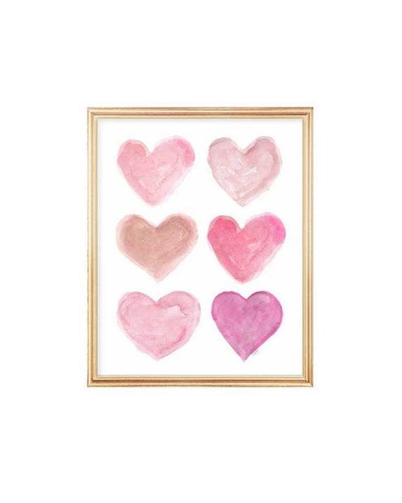 Pretty Pink Heart Collage Print for Girl's Bedroom, 8x10