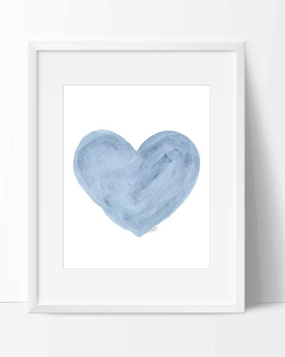 Baby Boy Gift; Blue Watercolor Heart Print in 8x10