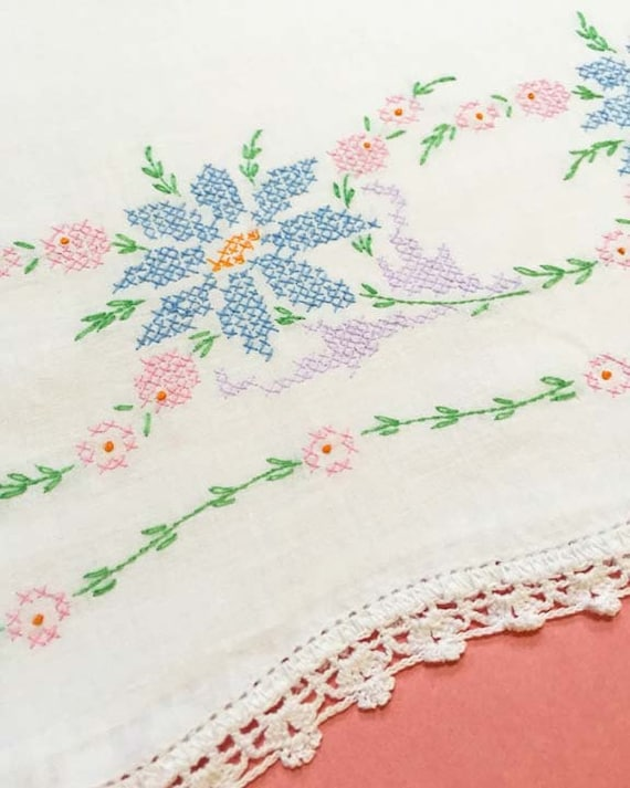 Pastel Cross Stitch Vintage Pillowcase