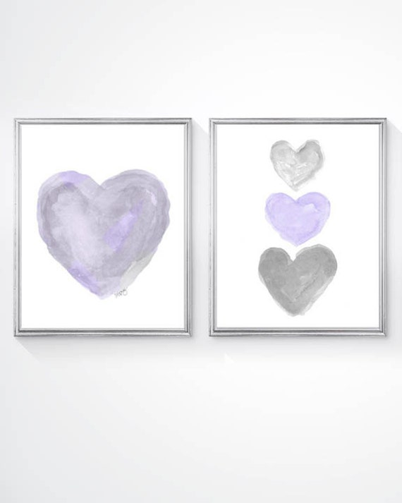 Purple and Gray Nursery Prints, Set 2 - 8x10 Heart Prints