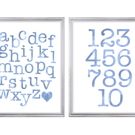 Blue ABC 123 Print Set for Playroom, Set of 2-11x14