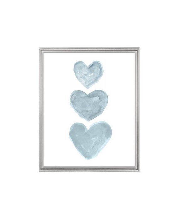 Blue Gray Nursery Decor, 8x10 Watercolor Hearts Print