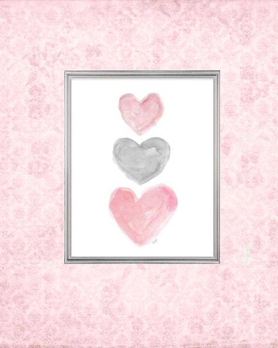 Pink and Gray Girls Decor, 5x7, 8x10 Watercolor Heart Print