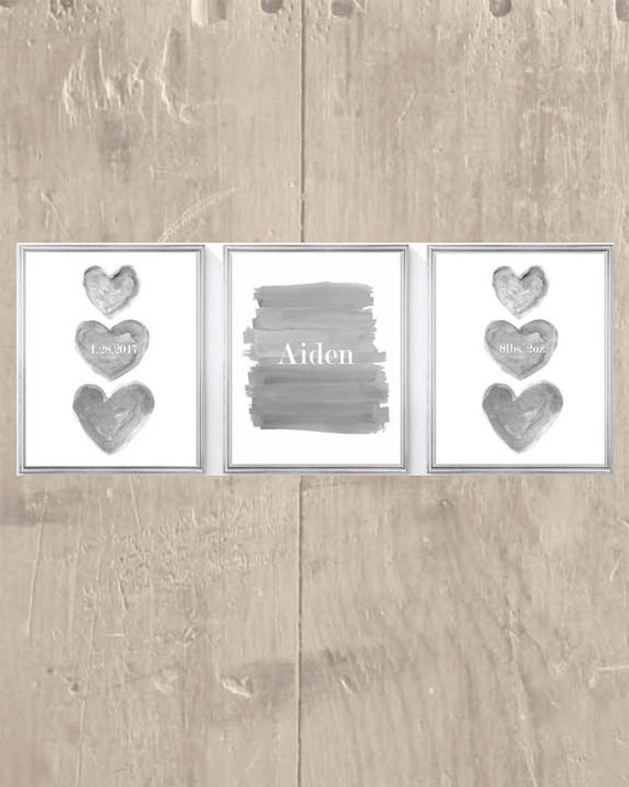 Gray Birthstats Prints for Boy, Set of 3- 8x10 Prints Personalized