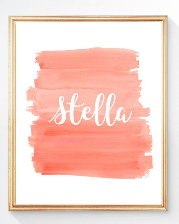 Modern Girls Print in Coral Personalized with name, 8x10