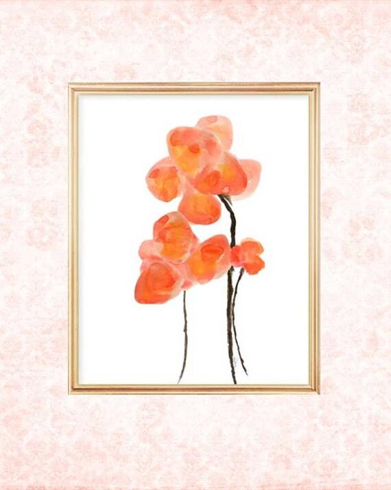 Orange Poppies Watercolor Print, 8x10