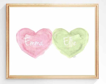 Twins Girls, Pink and Green Nursery, 8x10 Watercolor Art, Twin Sisters, Twins Nursery Art, Twins Gift, Baby Art, Kids Pink and Green Decor