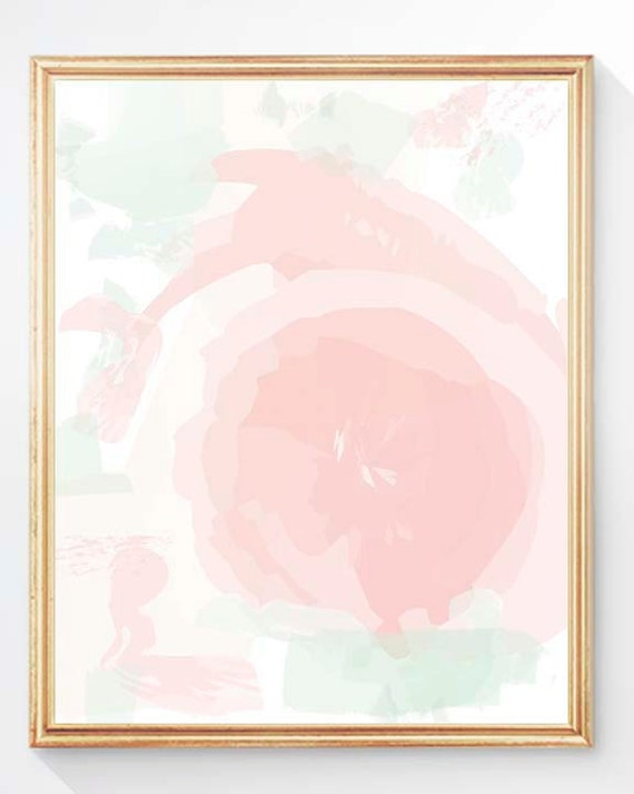 Blush and Mint Abstract Rose Nursery Print, 5x7, 8x10