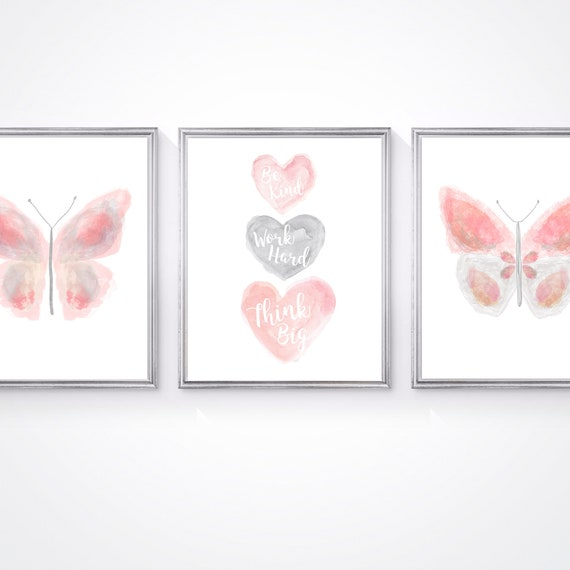 Butterfly Artwork; Set of 3 Blush and Gray Inspirational Prints