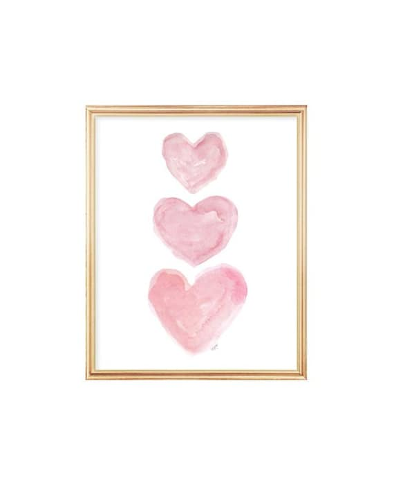 Pink Baby Nursery Decor, Watercolor Heart Print in 5x7, 8x10