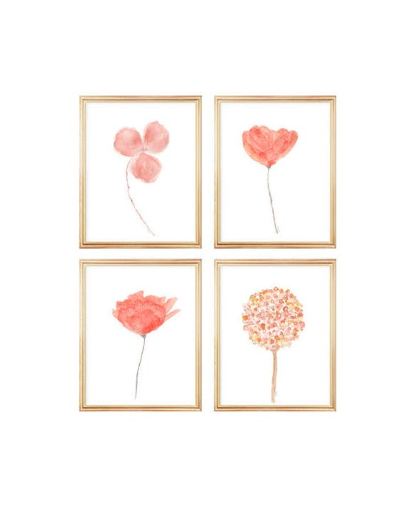 Coral Flowers Gallery Wall, Set of 4- 8x10 Watercolor Prints