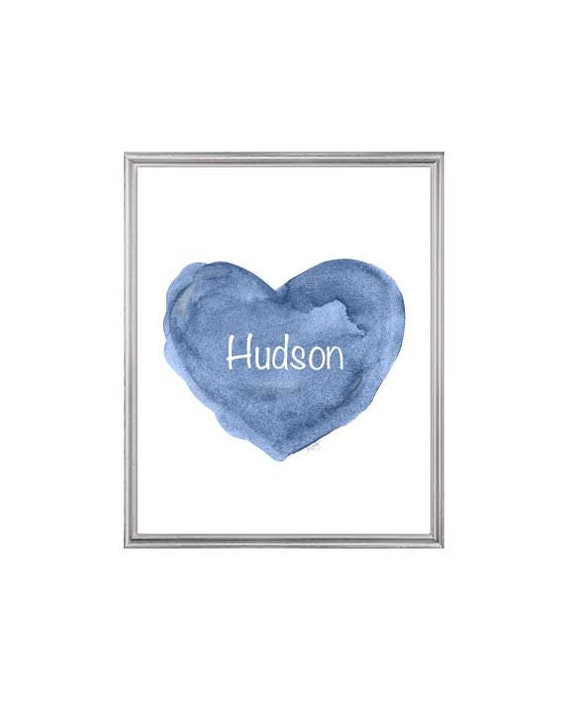 Navy Blue Nursery Art for Newborn Boy, 8x10 Personalized Heart Print