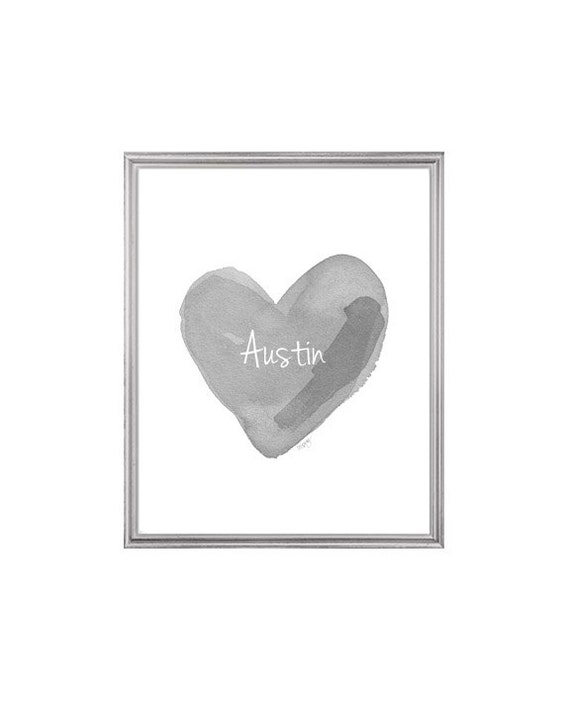 Gray Nursery Print with Custom Name in Heart, 8x10