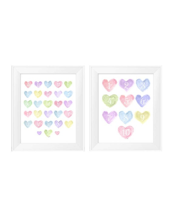 Pastel Alphabet Number Prints, 11x14 Set of 2