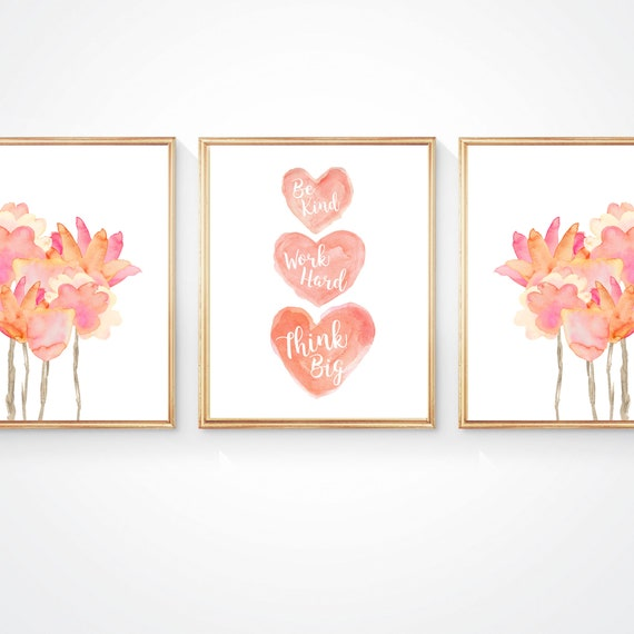 Tween Boho Bedroom Decor, Set of 3, Coral Flower and Heart Prints