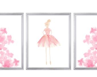 Prima Ballerina Prints, Set of 3, Girls Bedroom Prints, Little Girls Room Decor, Big Girl Bedroom Decor, Ballerina Wall Decor, Ballet Prints