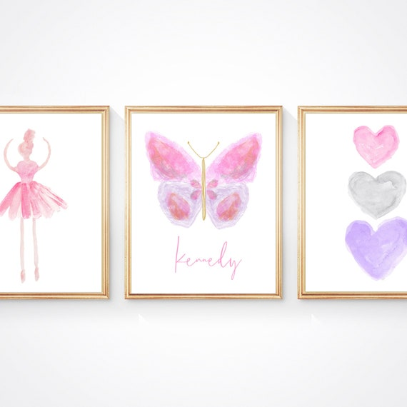Pink and Purple Butterfly and Ballerina, Print Set of 3 Prints for Girls Bedroom