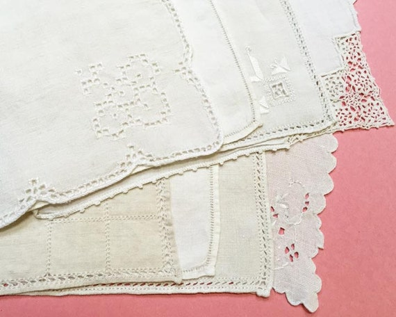 Dessert Napkins, Set of 8, Vintage Cloth Napkins in White and Natural