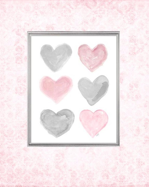 Pink and Gray Nursery Wall Art, 8x10 Watercolor Hearts Print