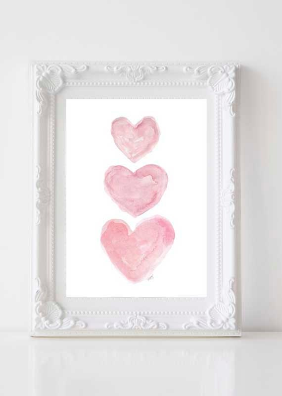 Romantic Pink Watercolor Heart Print for Nursery, 5x7, 8x10