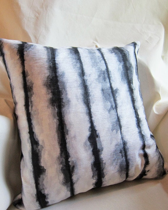Black Statement Pillow, 18x18 Painterly Pillow Cover