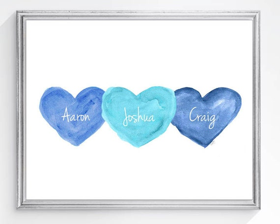 Boy Triplets Gift, Personalized Names Print in 8x10