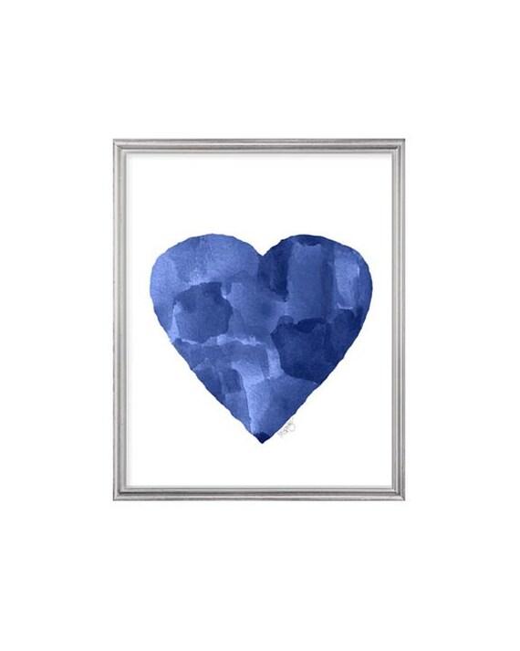 Indigo Heart Art Print, 8x10 Abstract Watercolor
