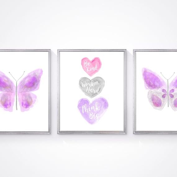 Butterfly Wall Decor; Girls Set of 3 Inspirational Art Prints