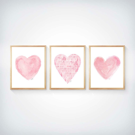 Pink Nursery Decor, Set of 3 - 8x10 Pink Watercolor Heart Prints