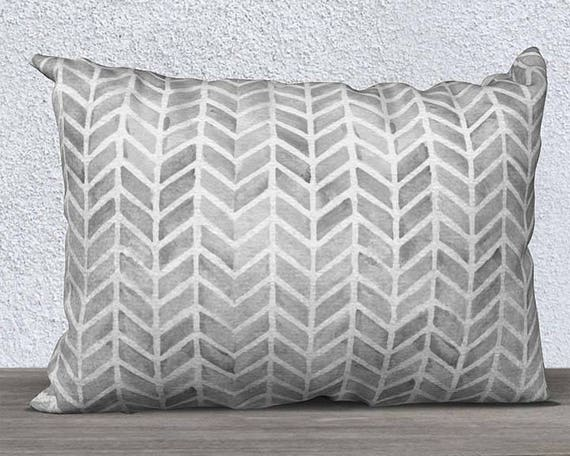 "Gray Velvet Lumbar Pillow Cover with Arrow Pattern, 14""x20"""