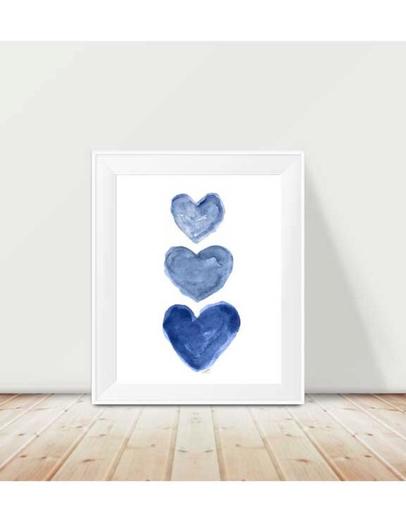 Indigo Watercolor Print, 11x14 Heart Trio