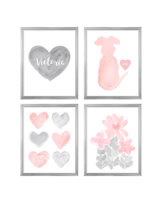 Girls Gallery Wall, Gray Heart with Blush Butterfly, Flowers, Rainbow, Cat or Dog, Set of 4-8x10