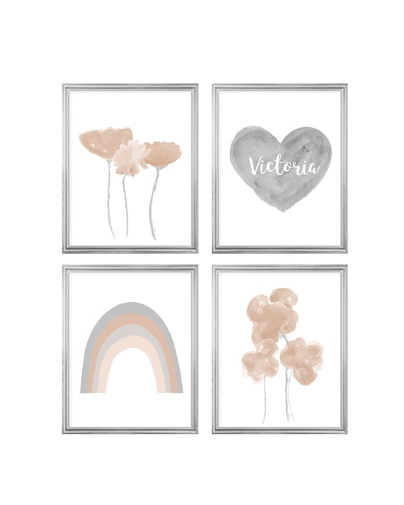 Neutral Gallery Wall; Set of 4 Personalized Prints with Heart, Rainbow and Flowers