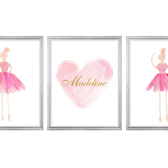 Pink Ballerina and Personalized Heart Prints, Set of 3-11x14