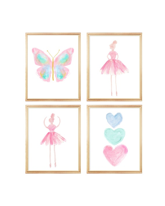 Pastel Gallery Wall for Girl, Butterfly and Ballerinas Print Set of 4
